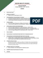 September 3 2013 Complete Agenda