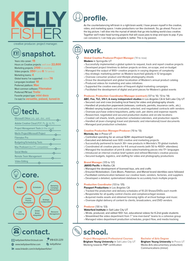 Kelly Fisher Resume (Creative Producer, Project Manager, Production
