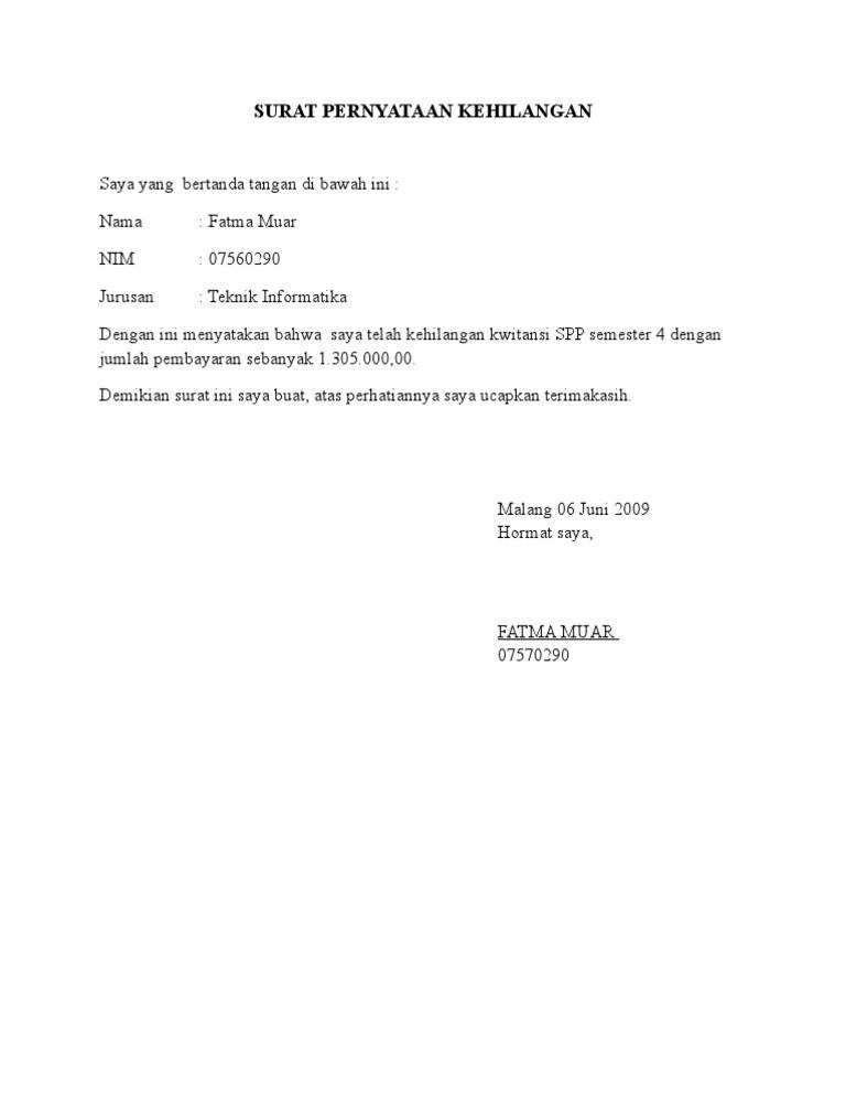 27+ Contoh surat pernyataan faktur hilang terbaru terbaru