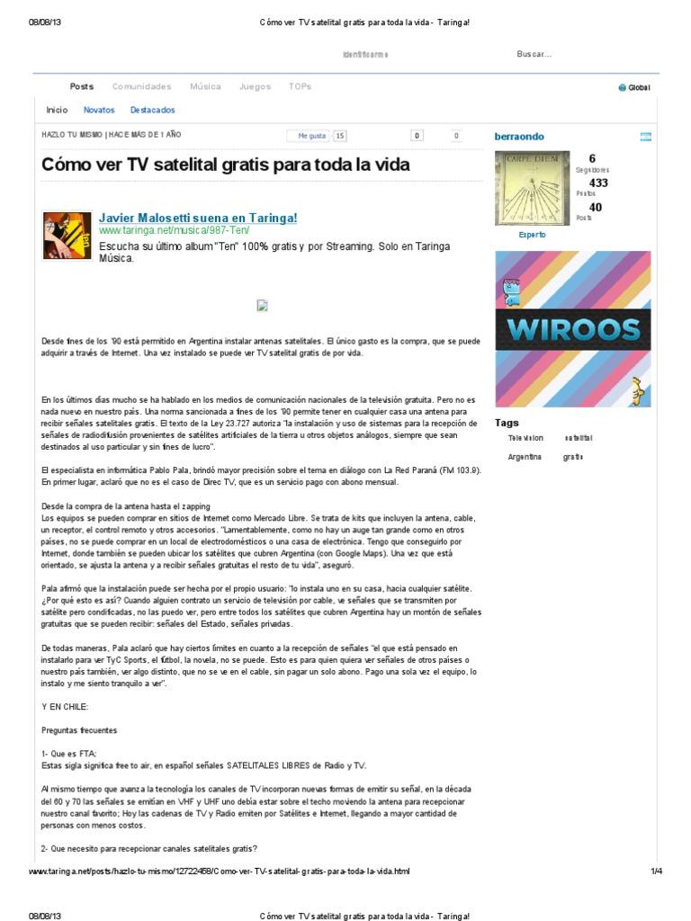 b0ec82e5a Cómo ver TV satelital gratis para toda la vida - Taringa!