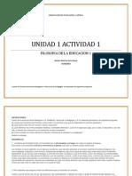 Actividad 1. Unidad 1. Intro. Filosofia de La Educacion