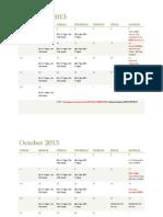 2013 Fall Schedule