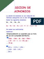 ADICION DE MONOMIOS