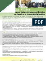 Information Filière Baccalauréat professionnel Cuisine ou Service et Commercialisation