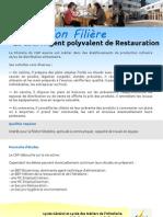 Information Filière C.A.P. Agent polyvalent de Restauration