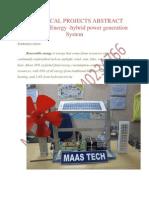 HYBRID POWER GENERATION-Wind-Solar Energy -Hybrid Power Generation System (WISE)