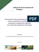 Recensement des programmes de recherche et des compétences scientifiques et techniques à application régionale sur le sujet du changement climatique