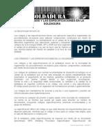 LOS CÓDIGOS Y LAS ESPECIFICACIONES EN LA SOLDADURA