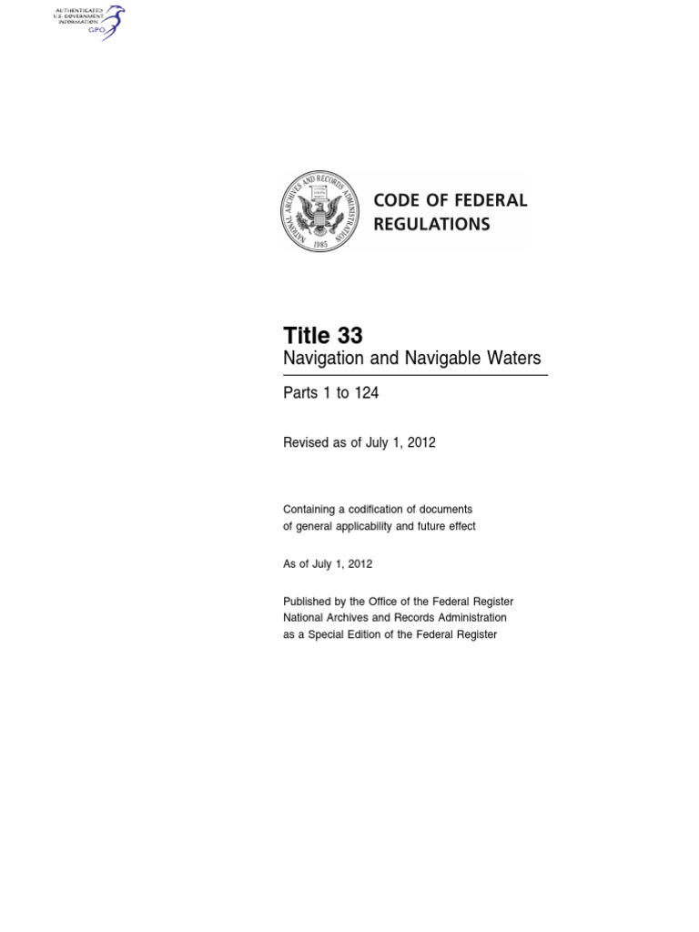 CFR 2012 Title33 Vol1 | Code Of Federal Regulations