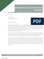 Recommandations sur le projet de loi EgalitéFH