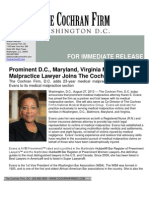 2013 08 30 DC Maryland Virginia Medical Malpractice Lawyer Karen Evans Joins the Cochran Firm DC