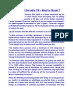 Food Security Bill -2013 Ideal or Quasi