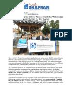 Korean Americans for Political Advancement (KAPA) Endorses  Austin Shafran for City Council