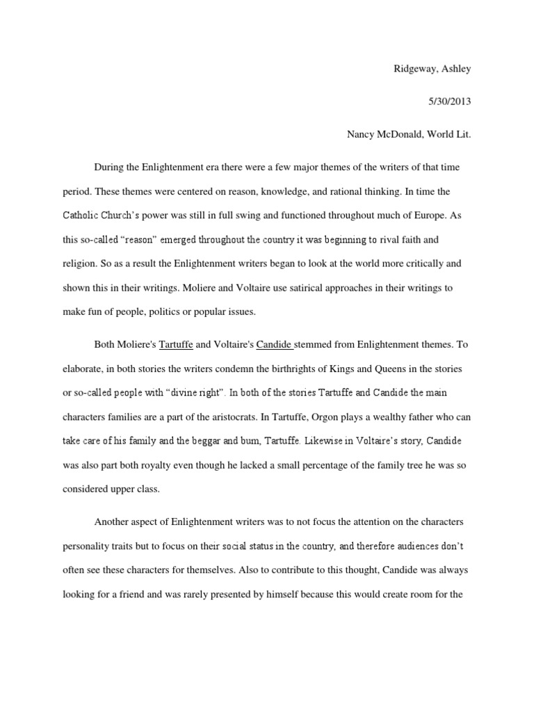 long essay candide candide age of enlightenment