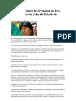 Notable  intervención de Evo Morales ante Jefes de Estado cee
