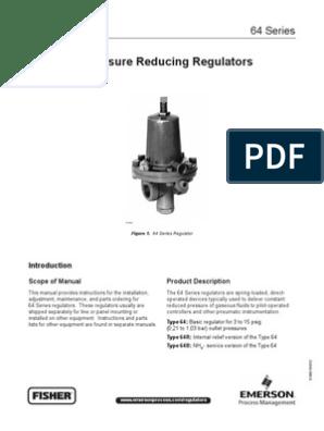 Pressure Reducing Regulator FISHER Manual Serie 64   Valve