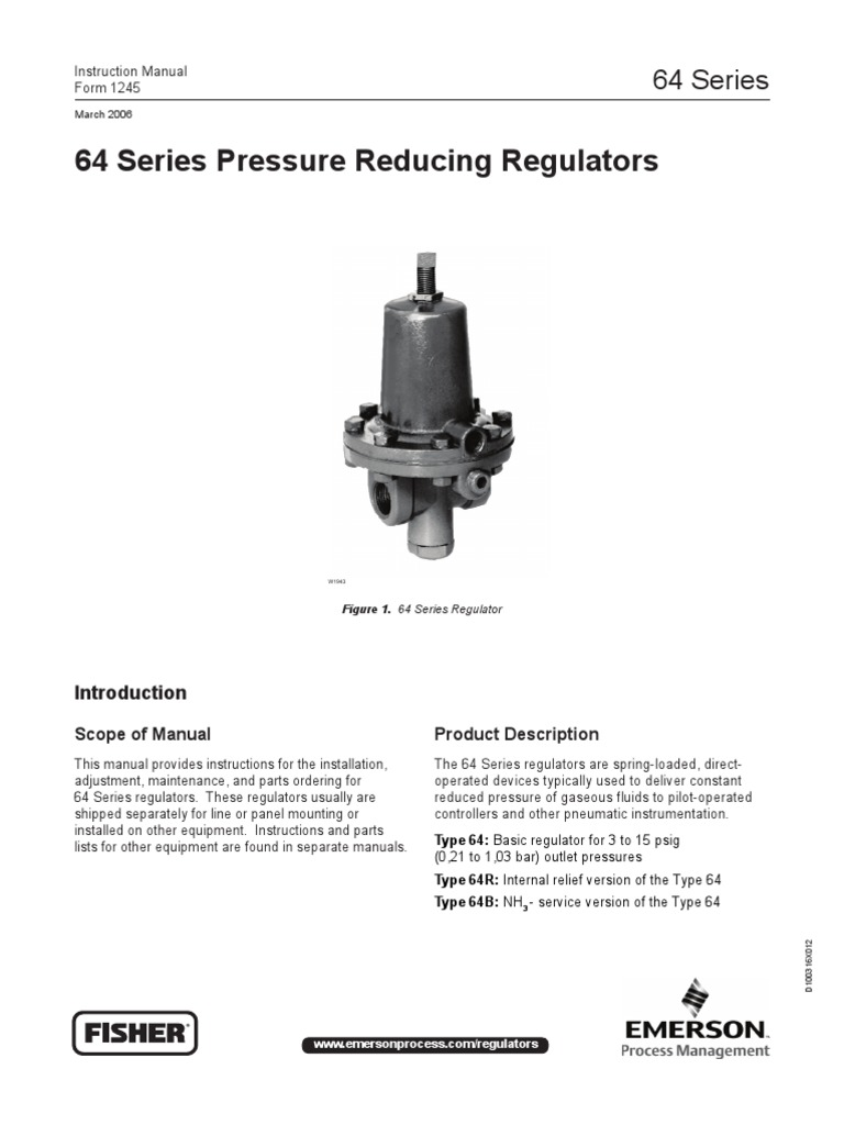 Pressure Reducing Regulator Fisher Manual Serie 64