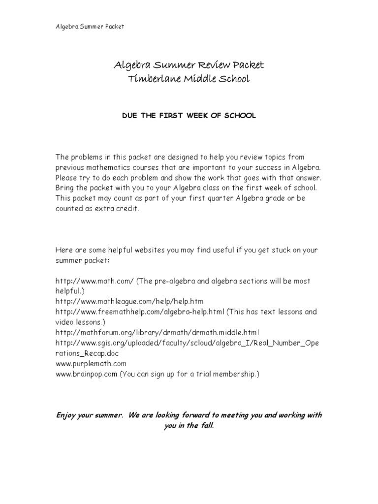 Entering Algebra Packet   Fraction (Mathematics)   Algebra