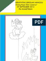 """Bahan Kreativitas Sekolah Minggu """"Orang Kaya Dan Lazarus"""" 29 September 2013 PIA Kumetiran"""