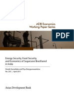 Energy Security, Food Security, and Economics of Sugarcane Bioethanol in India