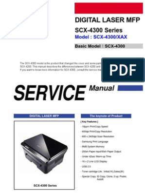 Samsung Digital Laser MFP SCX-4300 Series Parts and Service