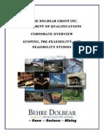 Behre+Dolbear+Feasibility+Studies+SOQ