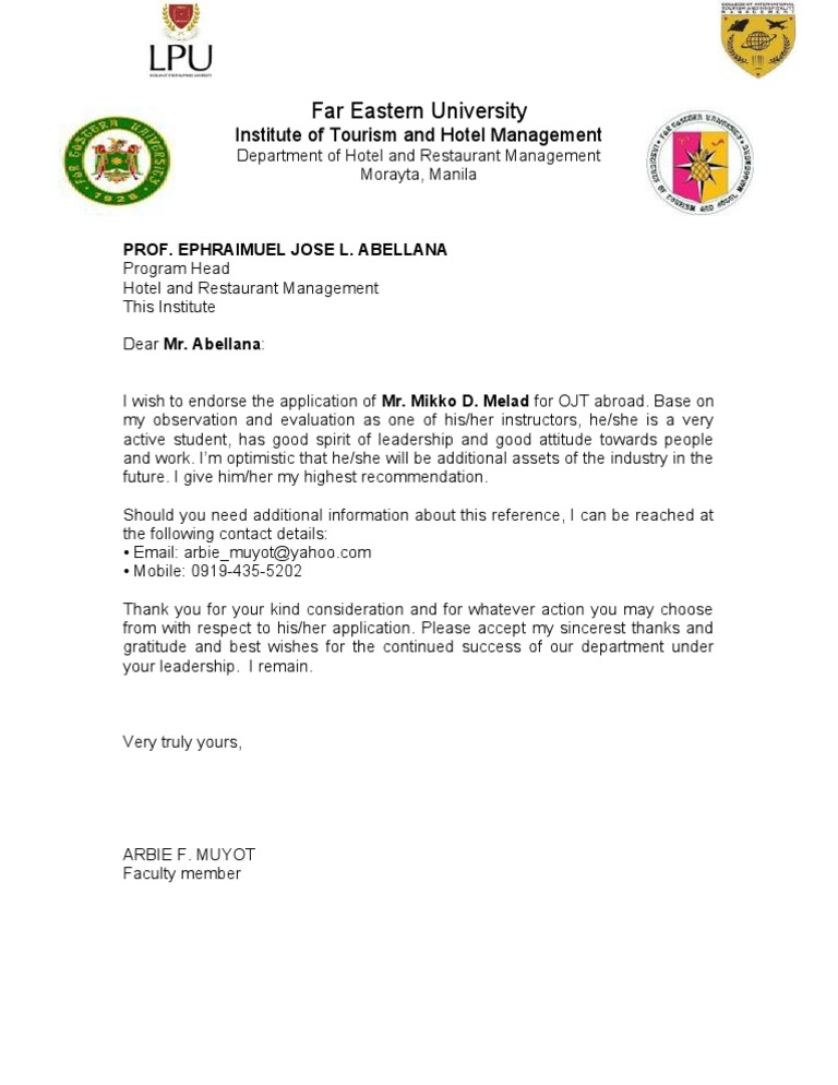 Recommendation Letter For Ojt