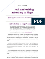 Derrida Jacques Speech and Writing According to Hegel
