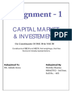 CAPITAL MARKET & INVESTMENTS On Constituents Of BSE 30 & NSE 50.