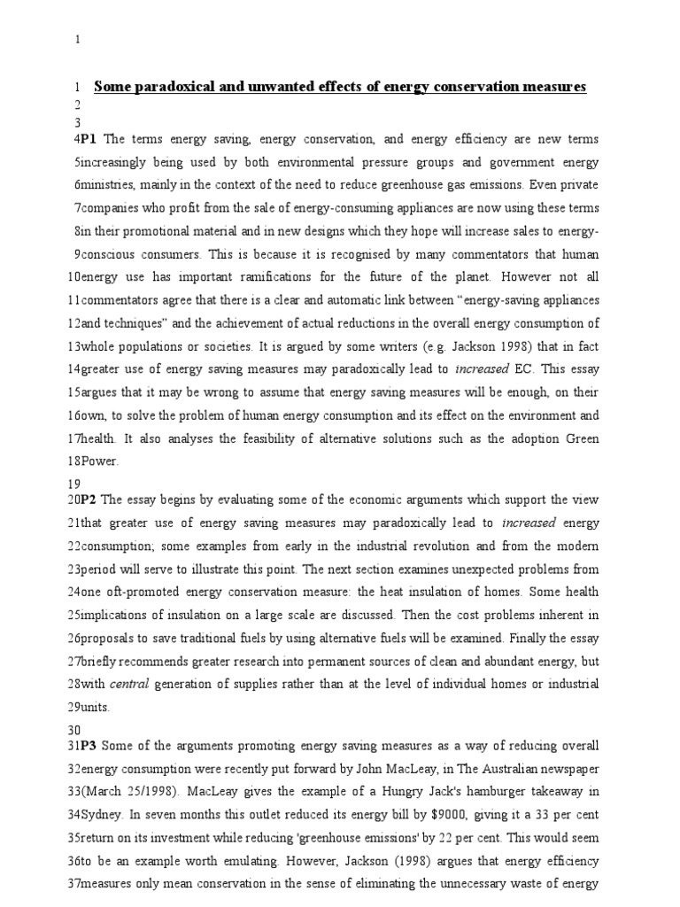 Sample Res Essay_Energy Conservatn Formatting Exercise | Energy ...