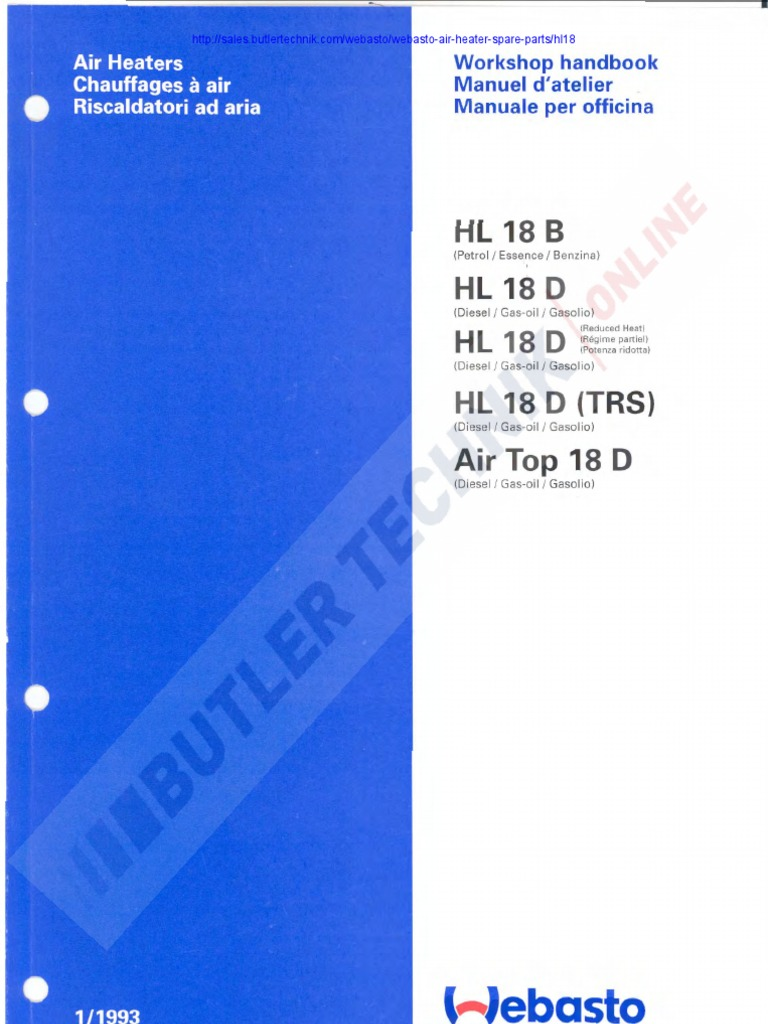 Webasto Hl18 Air Top 18 Workshop Manual Thermostat Hvac 12 Valve Mins Fuel Heater Wiring Diagram