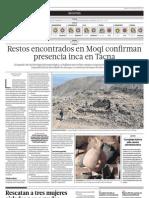 Restos encontrados en Moqi confi rman presencia inca en Tacna