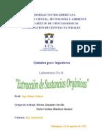 Laboratorio # 8. extracción de sustancias organicas