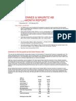 H&M Hennes & Mauritz Three Month Report 2012 Martin Engegren