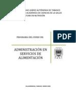 Administracion en Servicios de Alimentacion.260808