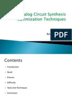 Analog Circuit Synthesis