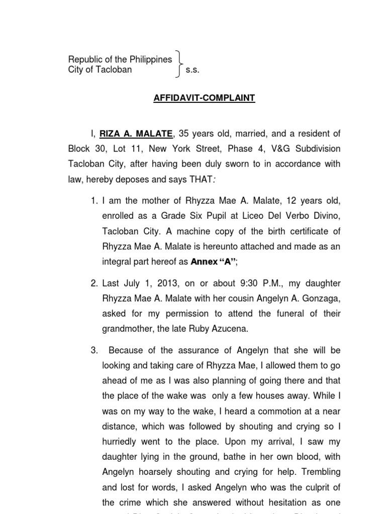 Complaint affidavit murdercx politics government yadclub Images