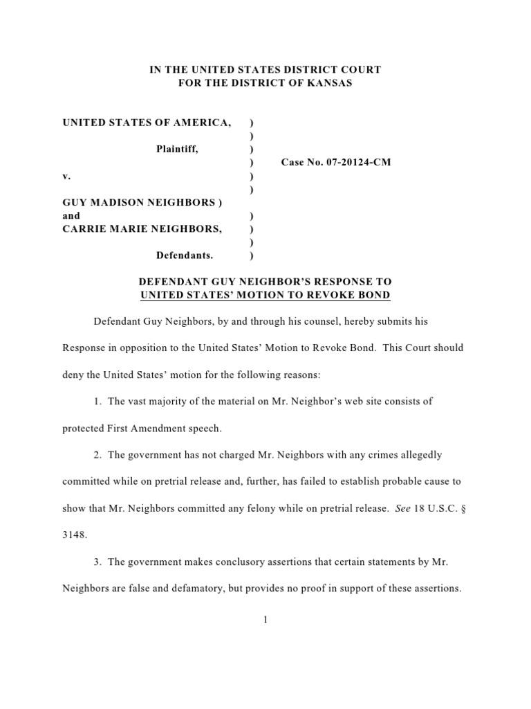 Response to Motion to Revoke Case No. 07-20124-CM