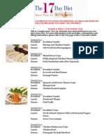 17 Day Diet Meal Plan Sample Menu 1-4-2011