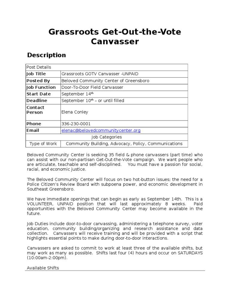 sc 1 st  Scribd & Canvasser Job Description | Get Out The Vote | Political Science pezcame.com