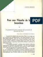 Para una filosofía de lo inconcluso, Univ. Ant., 1952