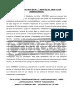 CONFECH - Declaración Pública - Huelga Sindicato de Trabajadores UST