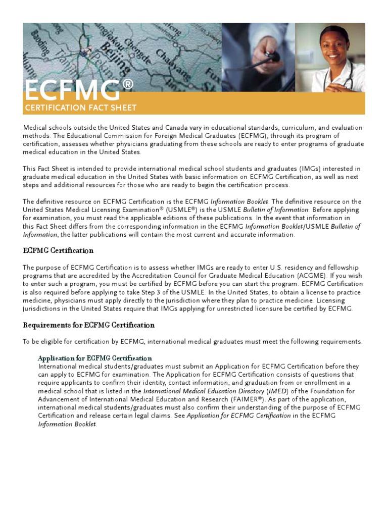 Ecfmg Certification Fact Sheet United States Medical Licensing