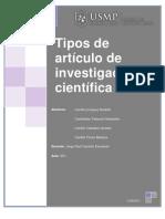 Tipos de artículo de investigación científica