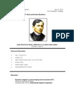 Rizal Resume Philippines