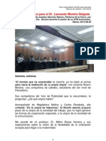 Discurso de Joselias Sánchez - Mérito cientifico a Leonardo Moreira