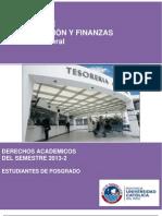 Tesorería General - Derechos Académicos del Semestre 2013-2 - Estudiantes de Posgrado