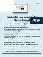 Budget 2013 Highlights