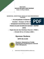 Desentralisasi Fiskal dan PDRD ( Pajak Daerah dan Retribusi Daerah)  pada Era Otonomi 2009 -Words 2003
