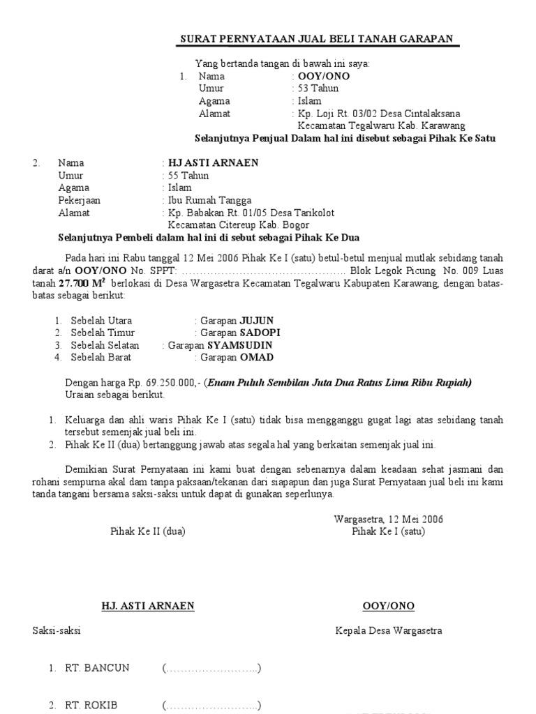 Segel Surat Pernyataan Jual Beli Tanah Garapan Segel